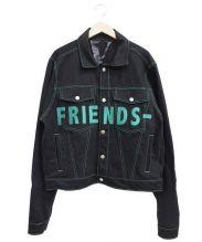 VLONE(ヴィーロン)の古着「フレンド刺繍デニムジャケット」|ブラック