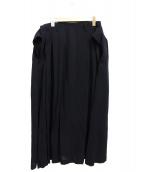 BLACK Scandal Yohji Yamamoto(ブラックスキャンダルヨウジヤマモト)の古着「前後タックスカート」|ブラック