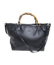 GIANNI NOTARO(ジャンニ ノターロ)の古着「バンブーハンドルレザートートバッグ」|ブラック
