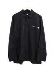 SUNSEA(サンシー)の古着「リネンジップシャツ」|ブラック