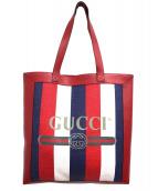 GUCCI(グッチ)の古着「プリントミディアムトートバッグ」|トリコロール