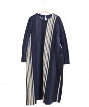 45R(フォーティファイブアール)の古着「たて縞ラグのドレス」 ベージュ×インディゴ