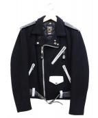 SCHOTT BROS.(ショットブロス)の古着「メルトンワンスターライダースジャケット」 ブラック