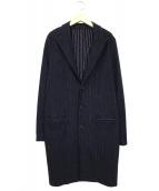 08sircus(ゼロエイトサーカス)の古着「ストライプジャージーストレッチチェスターフィールドコート」|ブラック