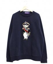 RALPH LAUREN PurpleLabel(ラルフローレン パープルレーベル)の古着「ポロベアアップリケコットンブレンドスウェットシャツ」