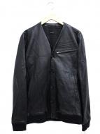 AKM(エーケーエム)の古着「Vレザーカーディガン」|ブラック