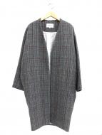 ENFOLD(エンフォルド)の古着「グレンチェックノーカラーコート」