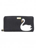 Kate Spade(ケイトスペード)の古着「スワンラウンドファスナー長財布」|ブラック