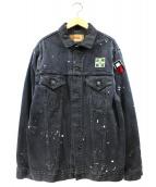 Levi's VINTAGE CLOTHING(リーバイスヴィンテージクロージング)の古着「ペイント加工デニムジャケット」|ブラック