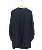 YANTOR(ヤントル)の古着「ラチネコットンロングシャツ」|グリーン
