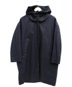 GOUT COMMUN(グーコミューン)の古着「シリコンコーティングリネンフードコート」|ネイビー
