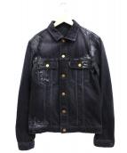 JIL SANDER(ジルサンダー)の古着「クラックペイントデニムジャケット」|ブラック