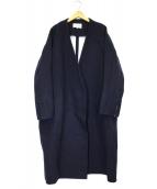 ENFOLD(エンフォルド)の古着「ノーカラーリバーツインコート」|ネイビー