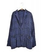 ISSEY MIYAKE(イッセイミヤケ)の古着「プリーツチェック2Bジャケット」|ネイビー