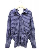 ENFOLD(エンフォルド)の古着「チェックコルセットシャツ」|ブルー