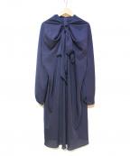 SHIZUKA KOMURO(シズカコムロ)の古着「ドレープタイブラウスワンピース」|ネイビー