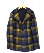 agnes b homme(アニエスベーオム)の古着「ウールチェックチェスターコート」|イエロー×ネイビー