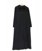 Y's(ワイズ)の古着「ウールギャバステンカラーコート」 ブラック