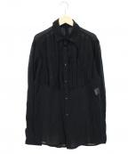 kiryuyrik(キリュウキリュウ)の古着「コットンシフォンカットフリルシャツ」|ブラック