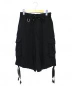 kiryuyrik(キリュウキリュウ)の古着「テンセルツイルシャーリングショートカーゴパンツ」|ブラック