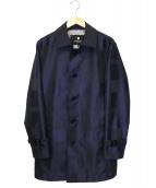 BLACK LABEL CRESTBRIDGE(ブラックレーベルクレストブリッジ)の古着「チェックステンカラーコート」 ネイビー
