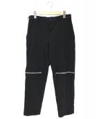 BLACK COMME des GARCONS(ブラックコムデギャルソン)の古着「ポリ縮絨ジップテーパードパンツ」|ブラック