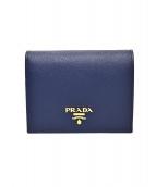 PRADA(プラダ)の古着「サフィアーノコンパクトウォレット」|ネイビー