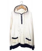 PORTER CLASSIC(ポータークラシック)の古着「ハンドワークハーフジップスウェットシャツパーカー」|アイボリー