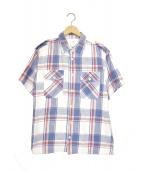 VISVIM(ヴィスヴィム)の古着「S/Sパイルチェックシャツ」|ホワイト×ブルー