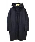 GOUT COMMUN(グーコミューン)の古着「シリコンコーティングリネンフーデットコート」|ネイビー