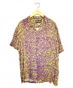 DOUBLE RAINBOUU(ダブルレインボー)の古着「レオパードオープンカラーシャツ」|イエロー×パープル