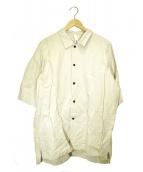 Edwina Horl(エドウィナホール)の古着「オーバーサイズスリットシャツ」|ベージュ