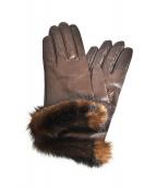 Sermoneta gloves(セルモネータグローブス)の古着「ミンクファーシープレザーグローブ」|ブラウン