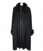 HANAE MORI(ハナエモリ)の古着「フォックスファー付カシミヤガウンコート」 ブラック