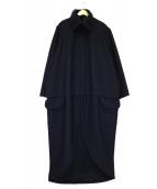 Yohji Yamamoto pour homme(ヨウジヤマモトプールオム)の古着「ウールギャバフーデッドコート」|ブラック