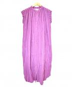 sara mallika(サラマリカ)の古着「コットンジャガードスリーブレスドレス」|ピンク
