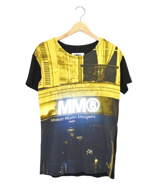 MM6(エムエムシックス)MM6 (エムエムシックス) 転写プリントTシャツ ブラック サイズ:Sの古着・服飾アイテム