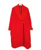LEONARD(レオナール)の古着「カシミヤ混ショールカラーコート」|レッド