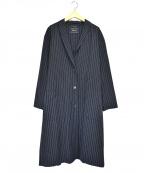 Loungedress(ラウンジドレス)の古着「ストライプチェスターコート」 ネイビー