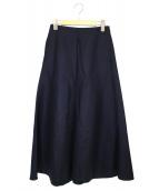 AURALEE(オーラリー)の古着「ライトメルトンフレアスカート」|ネイビー