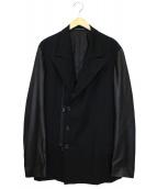 Yohji Yamamoto pour homme(ヨウジヤマモトプールオム)の古着「カーフレザーアーム切替ギャバジンジャケット」|ブラック