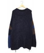 UNUSED(アンユーズド)の古着「ハンドニットセーター」|ネイビー×ブラウン