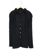 ISSEY MIYAKE(イッセイミヤケ)の古着「サイドスリットプリーツボーダーチュニックシャツ」|ブラック