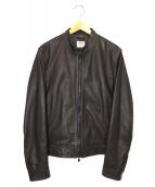 EMMETI(エンメティ)の古着「ラムスキンナッパレザーライダースジャケット」|ブラウン