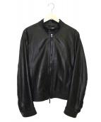 EMMETI(エンメティ)の古着「ラムスキンナッパレザーライダースジャケット」|ブラック