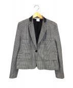 ELIN(エリン)の古着「スタンドカラーグレンチェックジャケット」|グレー