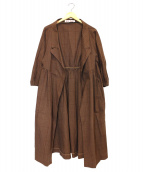 MARNI(マルニ)の古着「7部袖ボリュームスリーブチェックガウンコート」|ブラウン