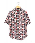 Black Fleece(ブラックフリース)の古着「半袖総柄シャツ」|レッド