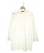 DRESSEDUNDRESSED(ドレスドアンドレスド)の古着「フード付きオーバーサイズシャツコート」|ホワイト