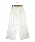 AURALEE(オーラリー)の古着「ウォッシュドフィンクスライトチノタックワイドパンツ」|ホワイト